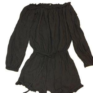 Brandy Melville Solid Black Romper Long Sleeve OS